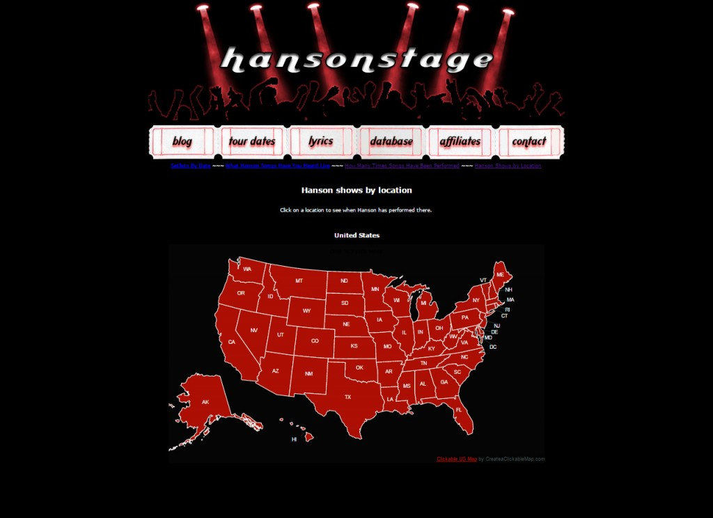 Hanson Shows By Location